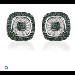 Jewelry - Simulated Green and White diamond stud earrings